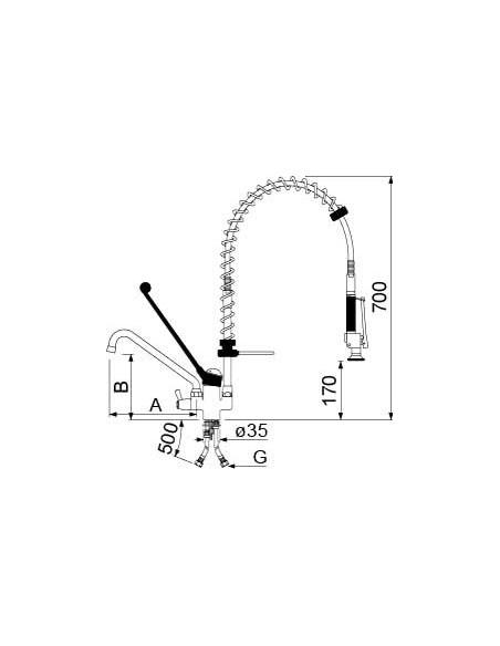 Grifo de Ducha 2 Aguas 1 Orificio con Monomando de Palanca larga 545089