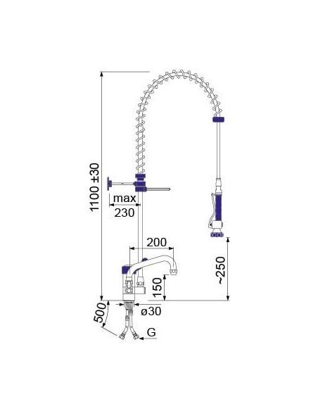 Grifo de Ducha 2 Aguas 1 Orificio con Monomando de Palanca corta 547519