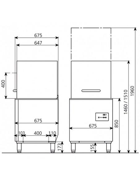 Lavavajillas Industrial Tipo Capota con Cesta de 50x50cm CORDOBA800