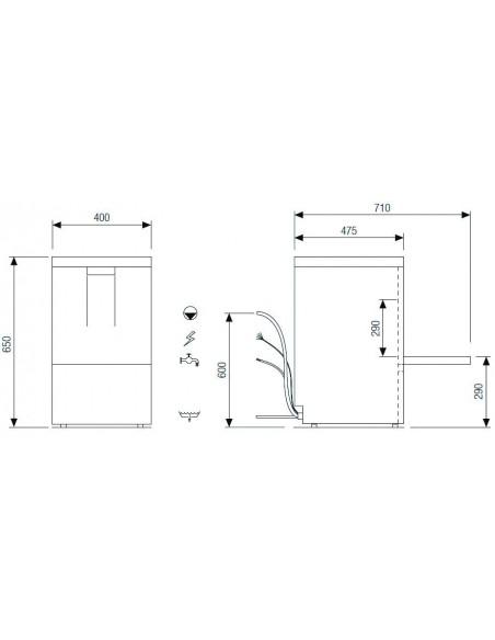 Lavavajilla Industrial con Cesta de 35x35cm CH350