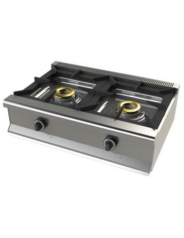 Cocina A Gas Sobremesa De 2 Fuegos 8+8 Kw Serie 550 6200B/1