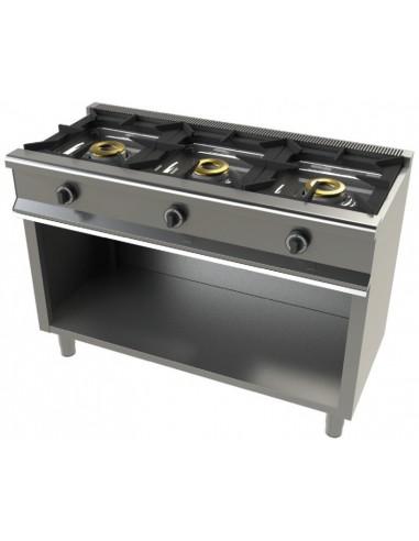 Cocina A Gas Con Mueble De 3 Fuegos 8+8+8 Kw Serie 550 6300/1
