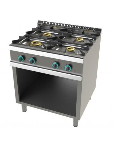 Cocina A Gas Con Mueble De 4 Fuegos 8+4,5+6+6 Kw Serie 700 FO7N400