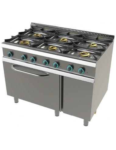 Cocina A Gas Con Horno Gn2/1 De 6 Fuegos 2X8+4,5+3X6 Kw Serie 700 FO7N601