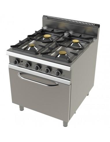 Cocina A Gas Con Horno Gn2/1 De 4 Fuegos 4,3+8,3+10+8,3 Kw Serie 900 FO9C401