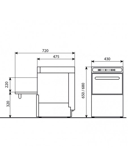 Lavavasos Industrial con Cesta de 35x35cm CORDOBA350
