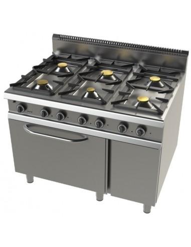 Cocinas a Gas 6 Fuegos con Horno Serie 900 Doble Corona con Llama Piloto 9601FC/3