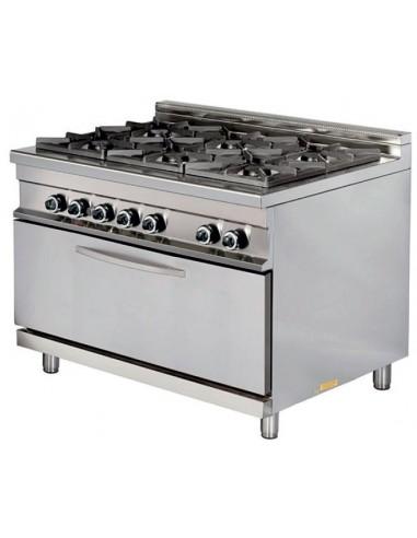 Cocina A Gas 6 Fuegos 6X8Kw Con Horno Maxi 7,5Kw Serie 900 GR932 Maxi