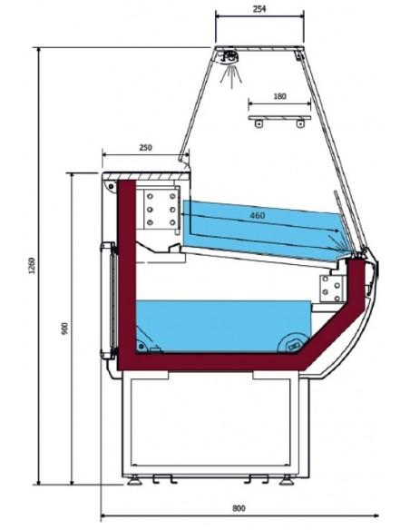 Vitrina Refrigerada Expositora Fondo 800 VPL100VPR